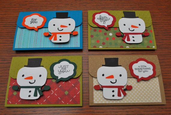 Snowman Themed Christmas Gift Card Holders - Pop-up Gift Card Holders - by StacyMadeDesigns - stacymadedesigns.etsy.com