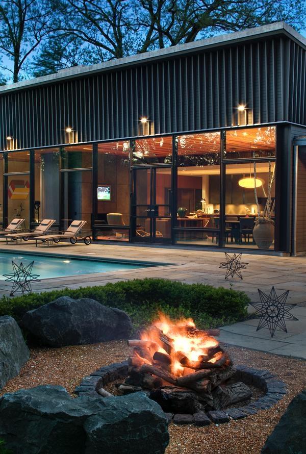 Outdoor Spaces: Zen-inspired pebble garden with fire pit