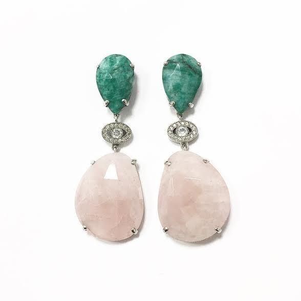 Pendientes de plata 925 rodiada con piedras naturales, esmeraldas, cuarzo rosa y zirconitas