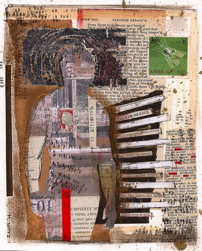Collage - cut and paste - paper - book pages - silver leaf - ink