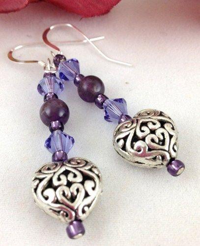 Elegant Handmade Earrings Feature Purple Swarovski Crystals Amethyst Beads Decorative Metal Hearts And Sterling Silver Ear Ho