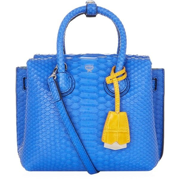 MCM Mini Milla Tote Bag (€1.950) ❤ liked on Polyvore featuring bags, handbags, tote bags, blue purse, mcm purse, structured tote, handbags totes and tote handbags