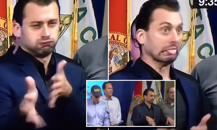 During Florida Governor Rick Scot remarks on Saturday, the especially expressive sign language interpreter conveyed the severity of the situation with dramatic facial expressions.