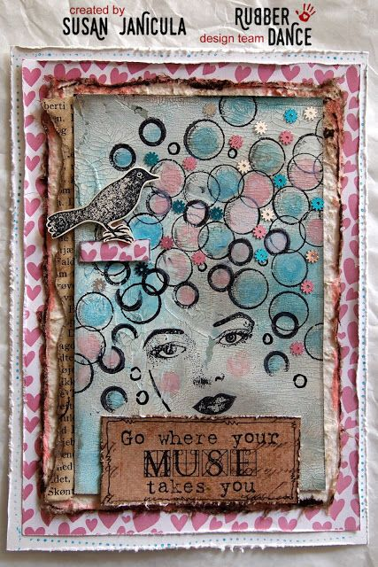 Rubber Dance Blog: Mixed Media Card with circle stamps and collage mix stamps.