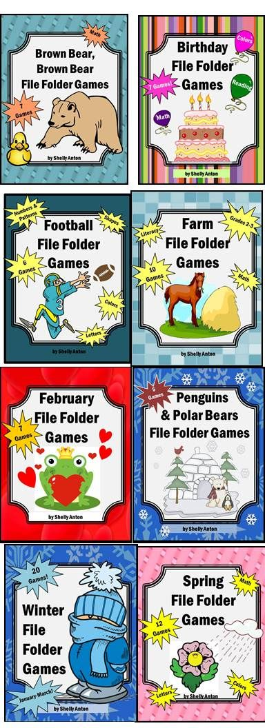 Lots of file folder games, write on/wipe off task cards, and strategies for working with students with autism.