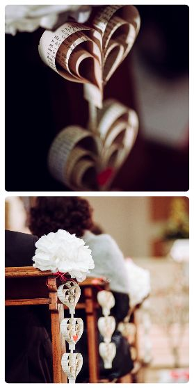 Book pages paper garland heart shape