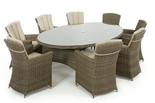 Dorset Rattan Garden Furniture 8 Seater Oval Dining Set with Carver Chairs