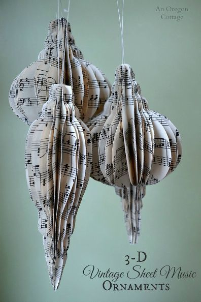 how to make 3 d vintage sheet music ornaments, christmas decorations, crafts, seasonal holiday decor