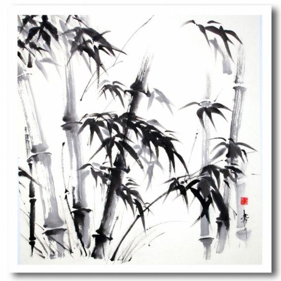 TABLEAU PEINTURE bambous sumi-e encre de chine japon Encre de Chine  - Bambous