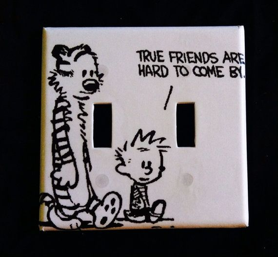 """Calvin and Hobbes """"True Friends"""" light switch cover"""