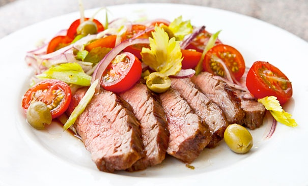 Flank Steak with Bloody Mary Salad | Food; Beef | Pinterest