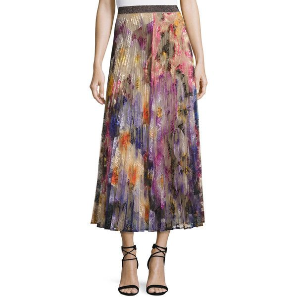 Christopher Kane Pleated Pansy-Print Lace Maxi Skirt ($1,595) ❤ liked on Polyvore featuring skirts, multi colored, women's apparel skirts, print maxi skirt, pleated a line skirt, a line maxi skirt, lace maxi skirt and long pleated skirt
