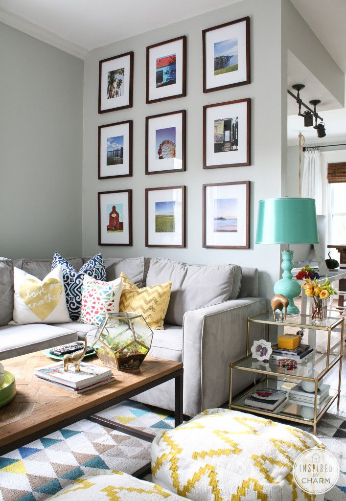 Gallery Wall via Inspired by Charm #FindingFallHomeTour. We love the pops of yellow, teal and black! #HomeGoodsHappy