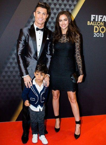 Portuguese footballer Cristiano Ronaldo and his Russia-born model girlfriend Irina Shayk, with Ronaldo's little son (by another woman), Christiano Ronaldo, Jr