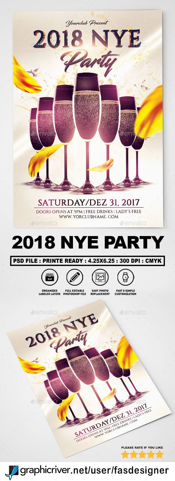 2018 NYE Party Flyer Template #classy #party  • Download here → https://graphicriver.net/item/2018-nye-party-flyer-template/20791153?ref=pxcr