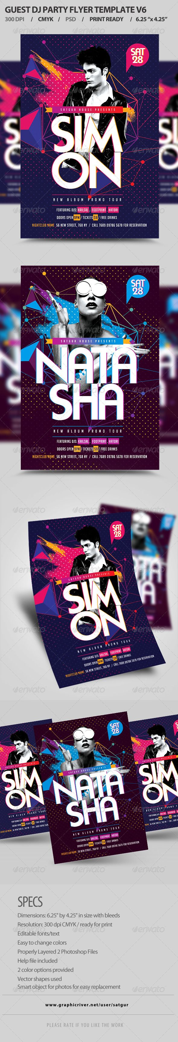 Guest DJ Party Flyer Template PSD V6 — Photoshop PSD #nightclub #college • Available here → https://graphicriver.net/item/guest-dj-party-flyer-template-psd-v6/8415564?ref=pxcr