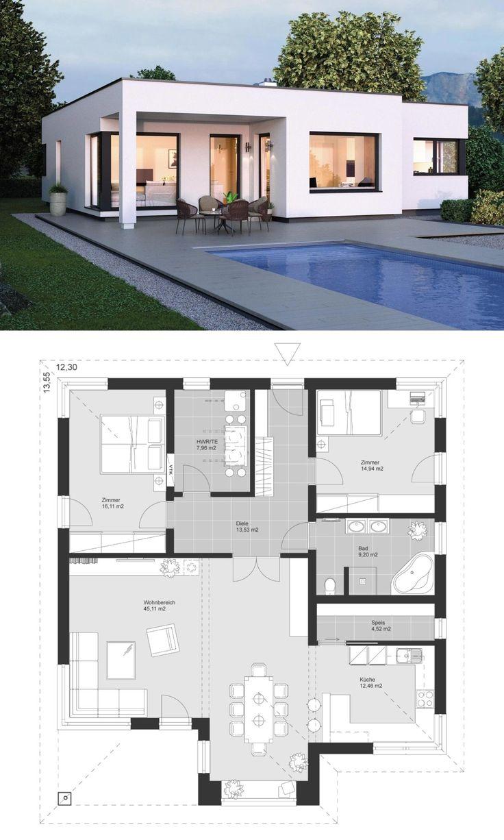 Moderner Bungalow im Bauhaus Design mit Flachdach Architektur & Grundriss modern… – HausbauDirekt