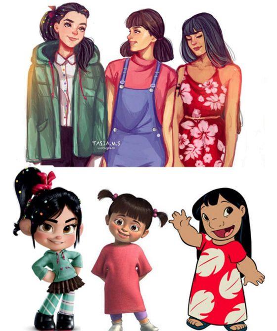 """Vanellope (""""Detona Ralph""""), Boo (""""Monstros S.A."""") e Lilo (""""Lilo e Stitch"""")"""