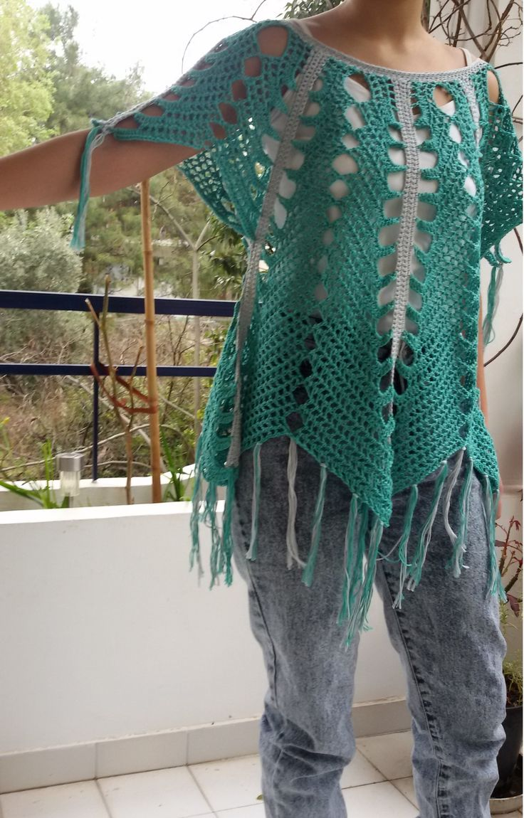 Sea waves tunic. Merserize cotton in the colors of the sea!!