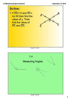 "This SmartBoard mini lesson includes the parts of an angle, naming an angle, classifying whether an angle is acute, obtuse, right, or straight, defines the protactor postulate, uses an interactive protractor to measure angles in two ways, and includes a guided practice problem using the angle addition postulateNote the ""f"" you see on one of the slides is the protractor."