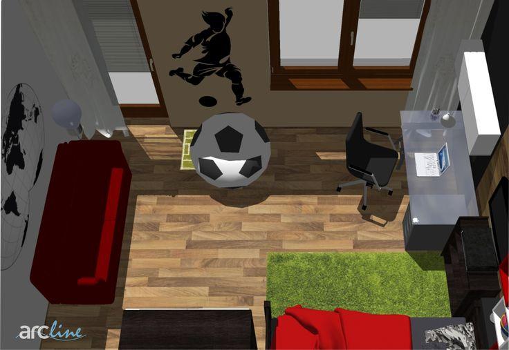 A new design for a boy-bedroom by Monika Jakubcova www.arcline.sk #interior, #interiordesign, #homedesign, #futball, #architekt, #home