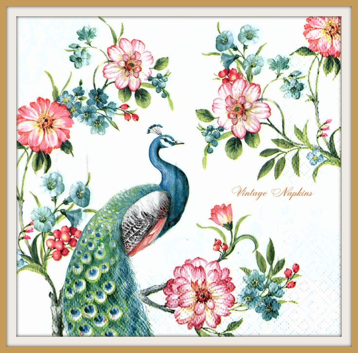 PAPER napkins for DECOUPAGE - Vintage PEACOCK #283 by VintageNapkins on Etsy