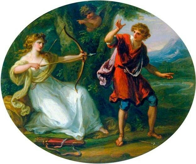 A Nymph Drawing Her Bow on a Youth by Angelica Kauffmann Date painted: c.1780 Collection: Victoria and Albert Museum