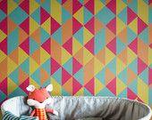Papier peint vinyle auto-adhésif, décalque de mur - la couverture de Triangle de Kaléidoscope coloré - 068