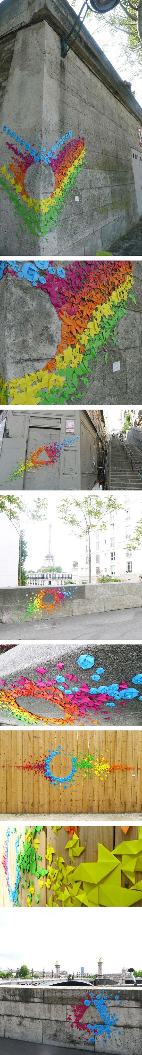 Street Art ::: Origami graffitis in Paris signed Mademoiselle Maurice