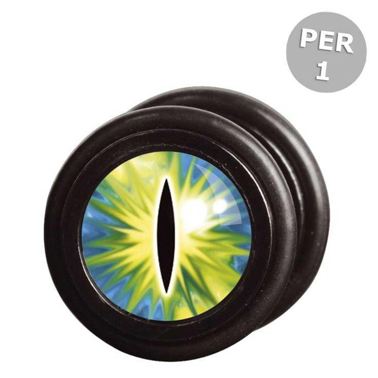 Wildcat Steel Blackline Green Cat Eye fake plug piercing met katten oo