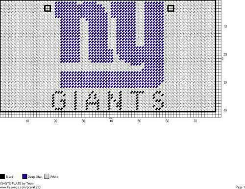 NEW YORK GIANTS LICENSE PLATE by TRICIA -- FOOTBALL WALL HANGING