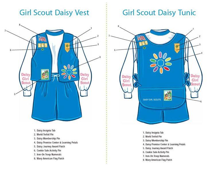 daisy uniform patch placement girl scouts pinterest