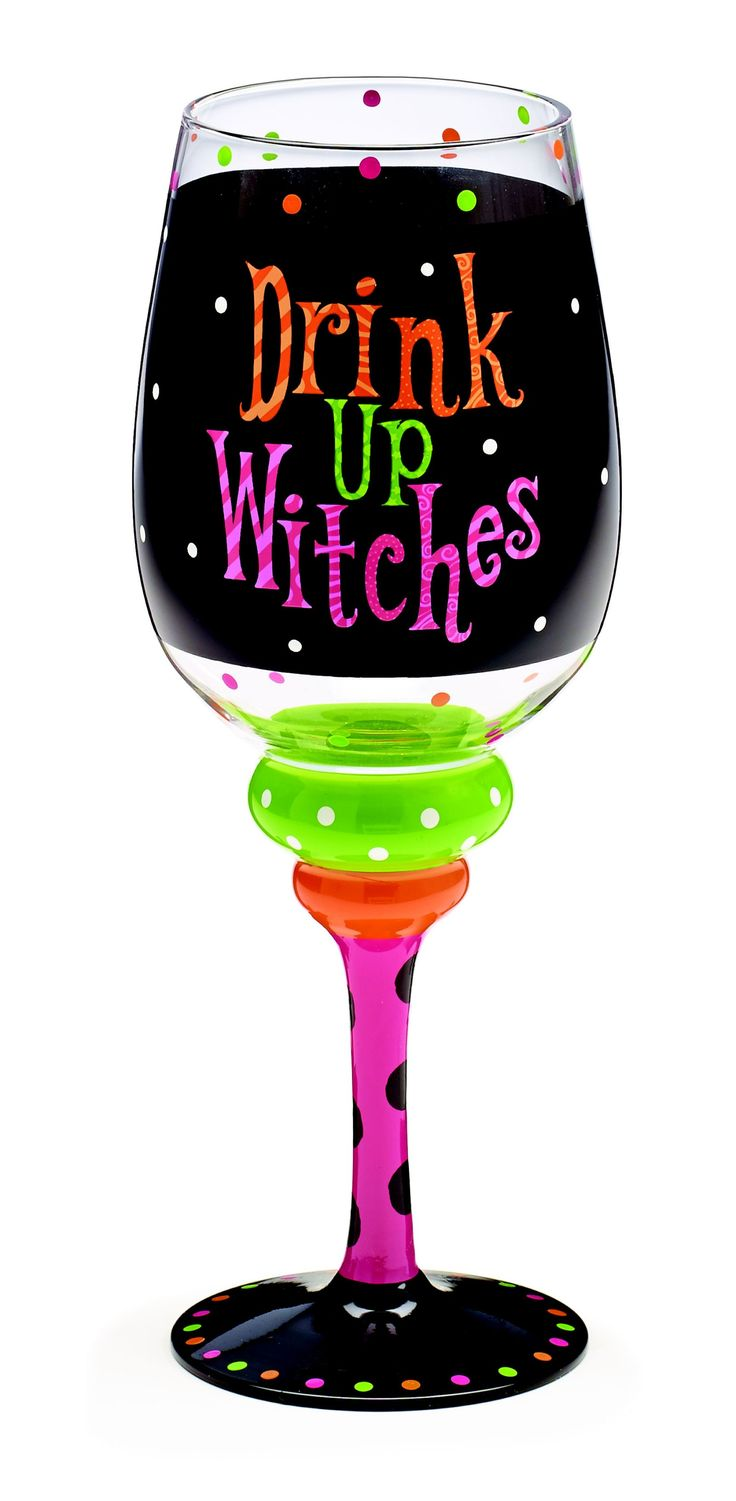 """Wine glass with wide black stripe and accented with pink, orange and lime dots and the phrase """"Drink Up Witches"""" in orange, lime green and and hot pink with brightly painted stem as well. $12.95.  25% off with code CELEBRATE25"""
