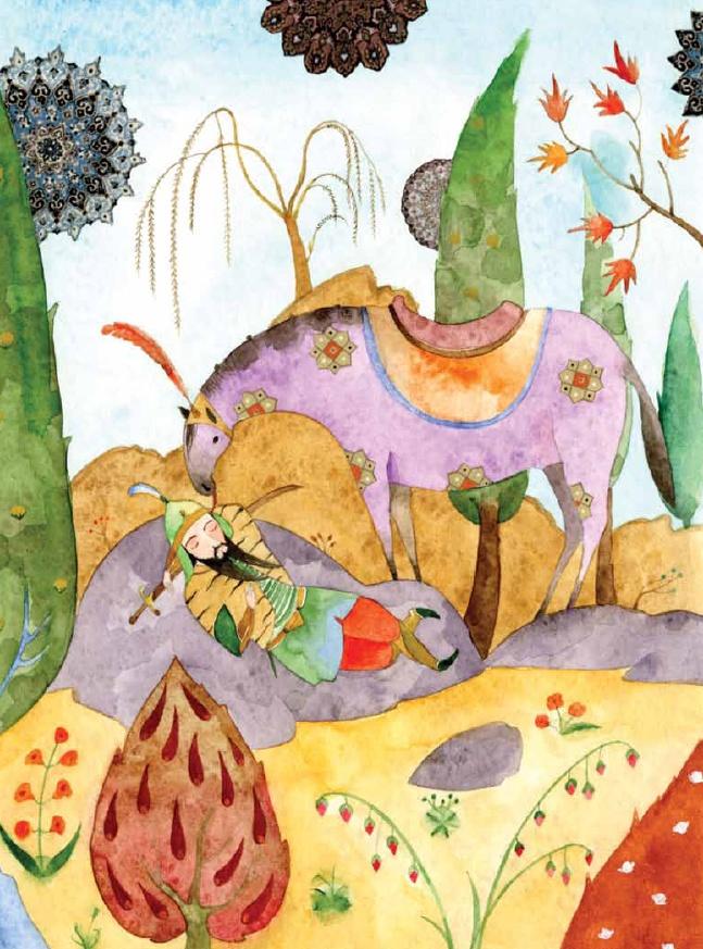 """Alexis Lago (Cuba), ilustración para """"Rustam el valiente y otras historias"""", de Sergio Andricaín y Antonio Orlando Rodríguez, Panamericana Editorial."""