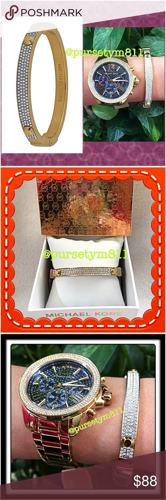 Authentic Michael Kors Gold Crystal Pave Bangle % AUTHENTIC! Stunning crystal pave studded bangle from Michael Kors! Crafted in yellow gold tone plated steel . Hinge closure. New with tag. Watch not included. Box included. PRICE FIRM. Michael Kors Jewelry Bracelets
