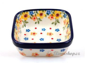 Spring pattern Squared BOWL . This Handmade Polish Pottery bowl is from ELIMAshop.cz . Boleslawiec . Bunzlau . ceramics . stoneware . spring design . 9,5/9,5 cm .