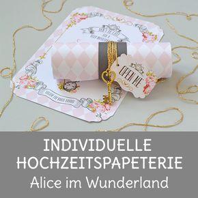 Alice im Wunderland ist ein Hochzeitsthema bei dem man sich in der Gestaltung der Papeterie ausleben kann. Rosa, grau und Gold sind sie Hauptfarben dieser Hochzeit.