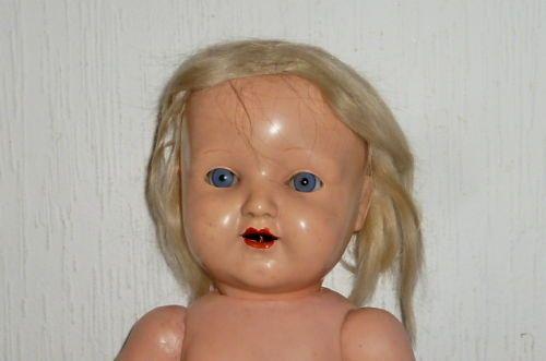 Alte-Schildkroet-Puppe-Schildkroetpuppe-50cm-mit-Haaren-Puppen-Dolls-Massepuppe