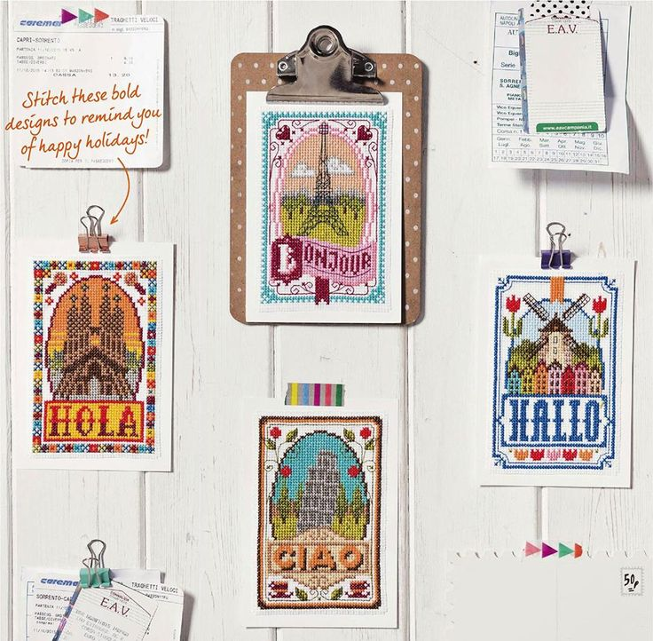 Gorgeous nostalgic post card designs available in Cross Stitch Crazy 217
