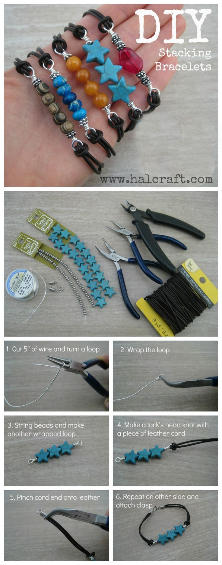 """Learn to make your own #leather and #bead #stackingbracelets in this DIY tutorial sure to use up your """"leftover"""" bead stash!"""