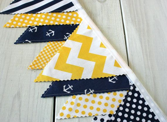 Bunting Banner, Photography Prop, Fabric Flags, Nautical Nursery Decor - Yellow, Navy Blue, Chevron, Stripes and Anchors - Ready to Ship
