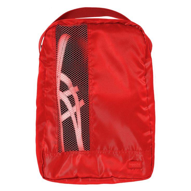 Lapoche Shoe Bag: Red - $26.50 $shoebag #travelshoebag #luggageorganiser