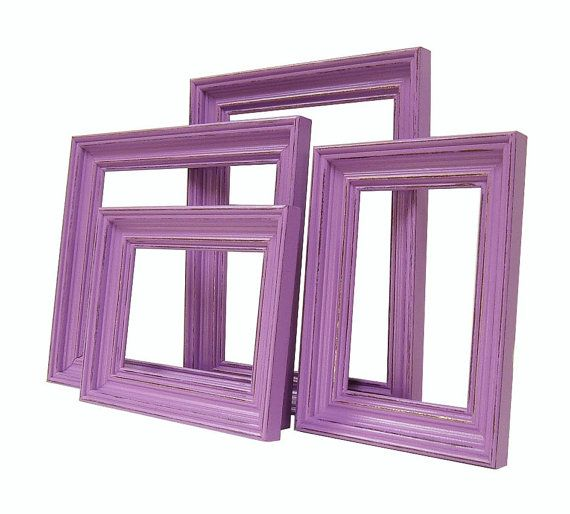 purple picture frames shabby chic distressed rustic frame set 8x10 5x7 orchid lavender nursery wedding home