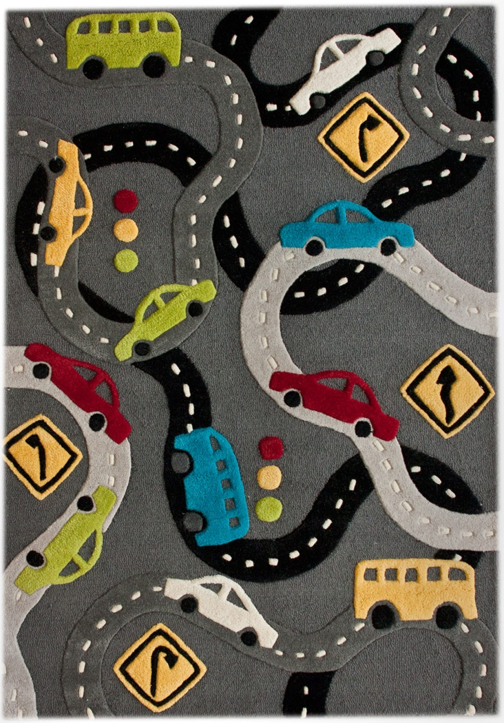 modernrugs.com Gray Roads High Low Modern Kids Rug