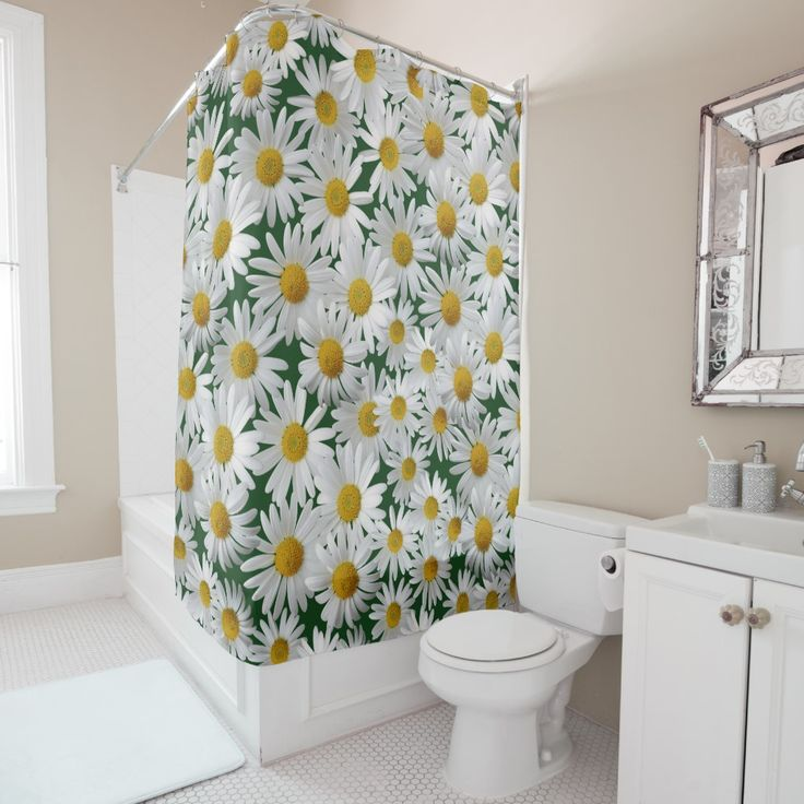 Cheerful Bright Daisy Shower Curtain Zazzle Com Curtains