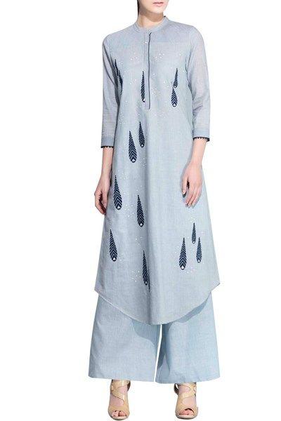 Kurtas and Sets, Clothing, Carma, Steel blue straight fit U hemline kurta