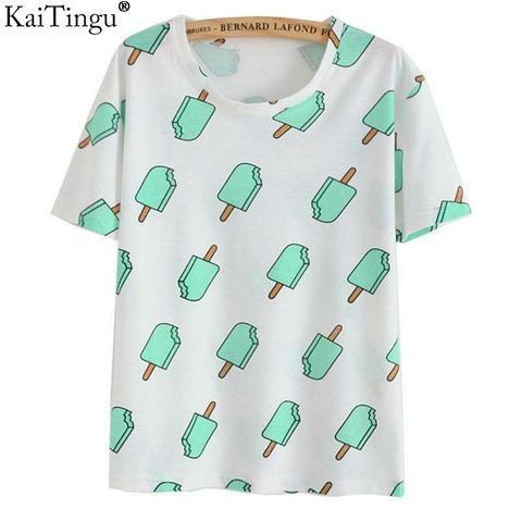 KaiTingu Brand 2017 New Fashion Vintage Summer Style Harajuku T Shirt Women Clothes Tops Emoji Funny Tee Shirts Ice Cream Print