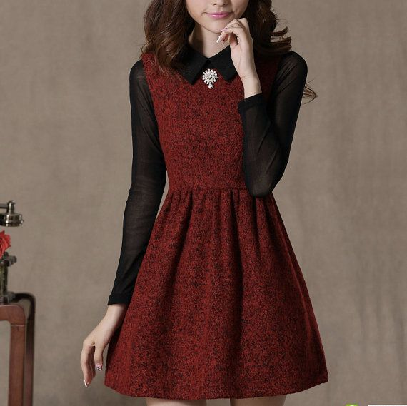 red wool dress, wool dress, winter warm dress, tea dress, casual dress on Etsy, $73.18 AUD
