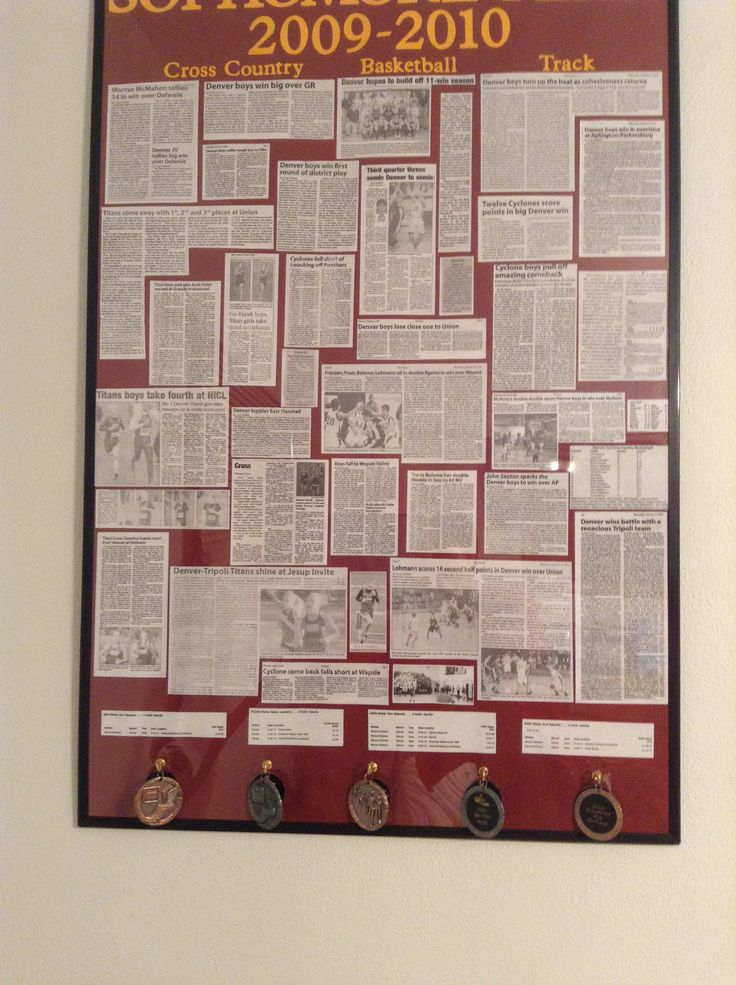 A good way to display medals for graduation...put them in hooks screwed into a poster board of pictures/articles