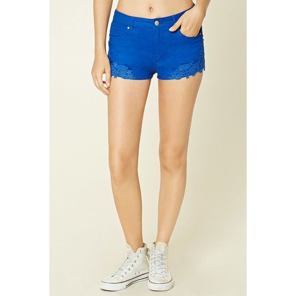 Forever21 Crochet Lace-Trimmed Shorts ($8) via Polyvore featuring shorts, crochet shorts, forever 21, lace trim shorts, linen shorts and macrame shorts